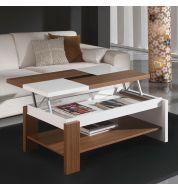 Table basse relevable plateau bois et blanc