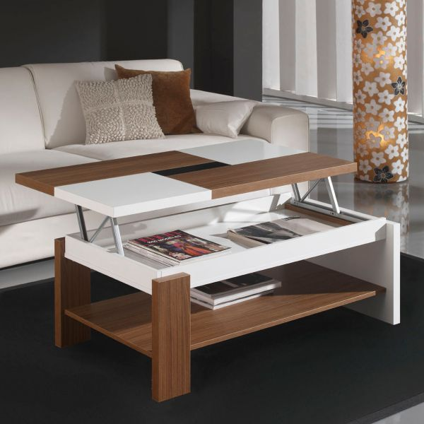 Table basse relevable plateau bois et blanc mobilier et d co for Table de salon escamotable
