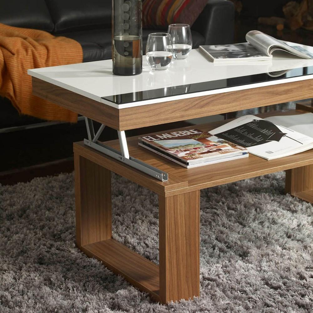Table Blanche Pied Bois table basse relevable bois et blanc