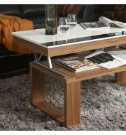 Table basse relevable plateau blanc et pied bois