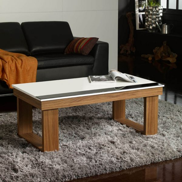 table basse relevable plateau blanc et pied bois d co et saveurs. Black Bedroom Furniture Sets. Home Design Ideas