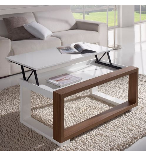 table basse relevable plateau blanc et cadre bois meuble salon. Black Bedroom Furniture Sets. Home Design Ideas