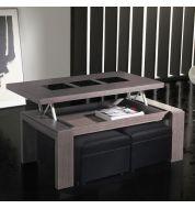 Table basse relevable bois cendré et verre