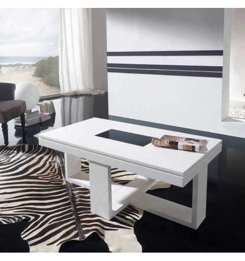 Table basse relevable design blanche placage ch ne d co et - Table basse relevable blanche ...