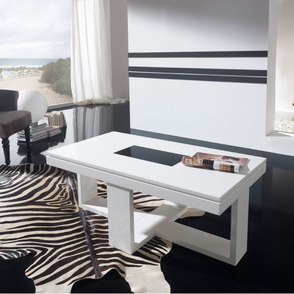 Table basse relevable design blanche placage ch ne d co - Table basse blanche design ...