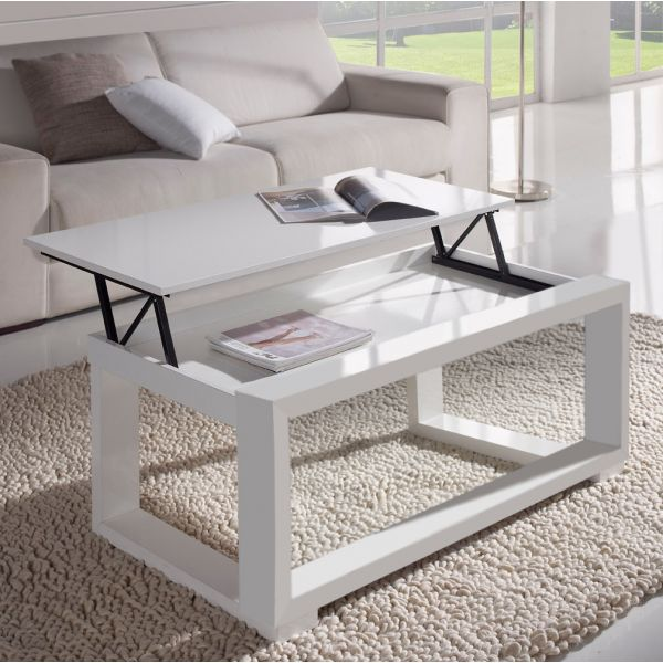 table basse relevable plateau blanc et cadre blanc. Black Bedroom Furniture Sets. Home Design Ideas