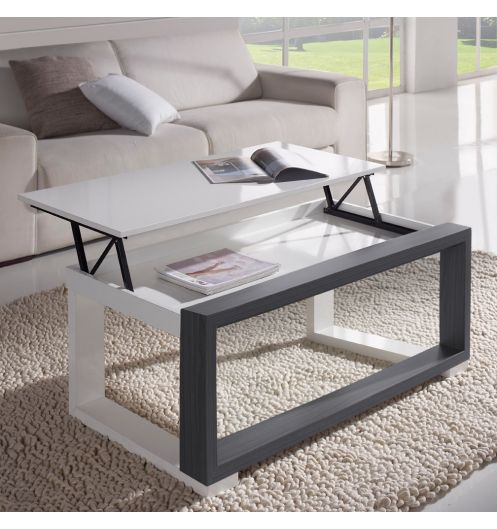 table basse relevable plateau blanc et cadre gris deco. Black Bedroom Furniture Sets. Home Design Ideas
