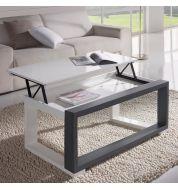 Table basse relevable plateau blanc et cadre gris