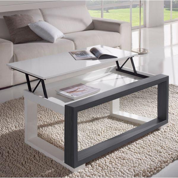 Table basse relevable plateau blanc et cadre gris deco - Table basse gris et blanc ...