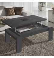Table basse relevable grise (centre verre)