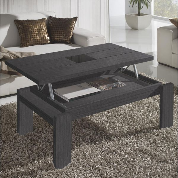 Table basse relevable grise centre verre mobilier - Table basse grise design ...