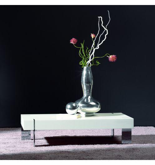 table basse design blanche pieds chrom s meuble design. Black Bedroom Furniture Sets. Home Design Ideas