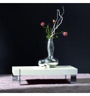 Table basse design blanche pieds chromés