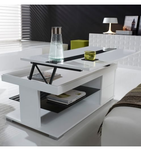 Table basse relevable laqu e blanche et verre noir deco for Deco fr table basse