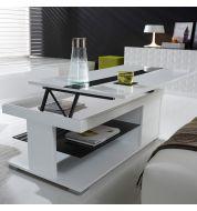 Table basse relevable laquée blanche et verre noir