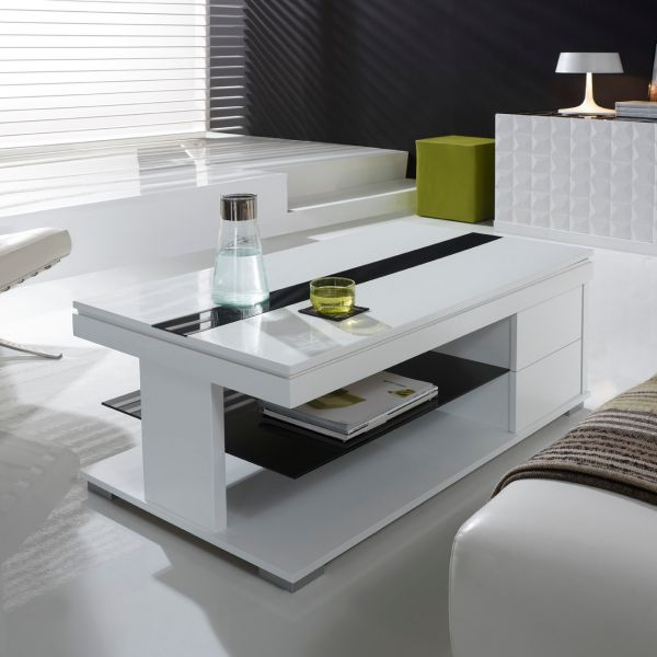 Table basse relevable laqu e blanche et verre noir deco for Table basse relevable noir