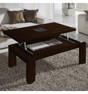 Table basse Relevable Wengé et verre