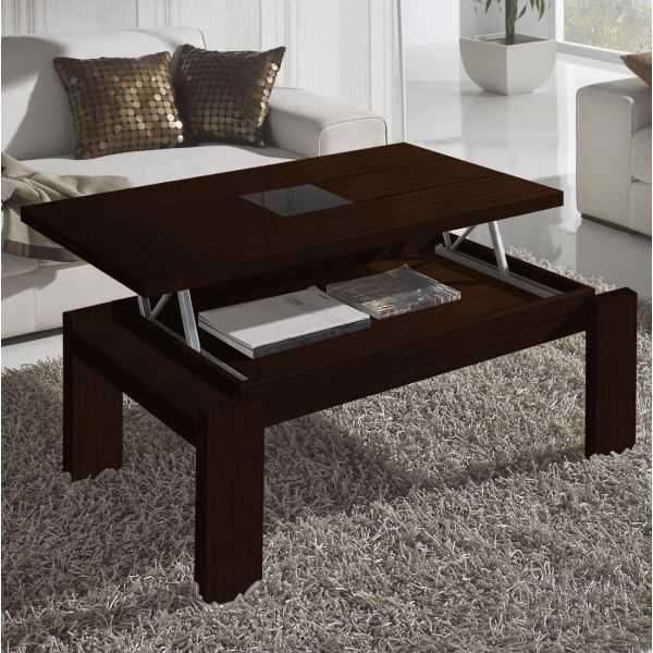 Table basse relevable bois weng centre verre mobilier for Table basse relevable wenge