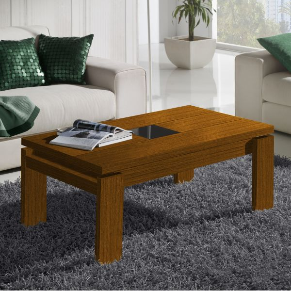 Table basse relevable bois noyer centre verre d co et - Table de sciage maison ...