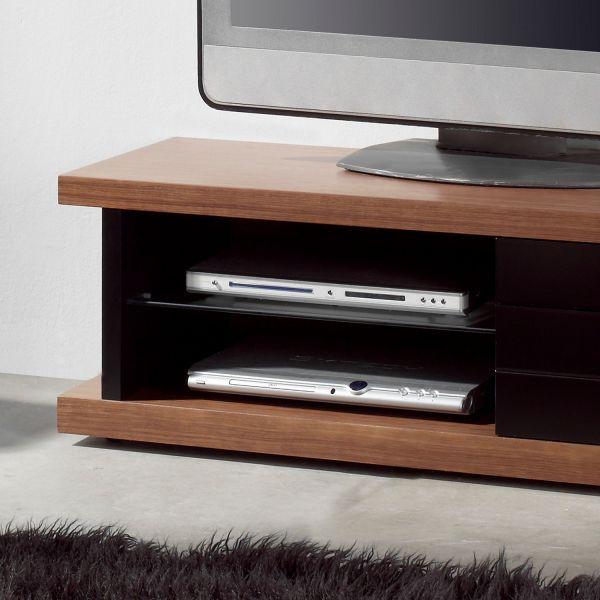 Meuble tv noyer laqu noir mobilier for Meuble tv design noir