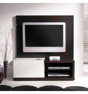 Meuble TV wengé et laqué blanc + panneau
