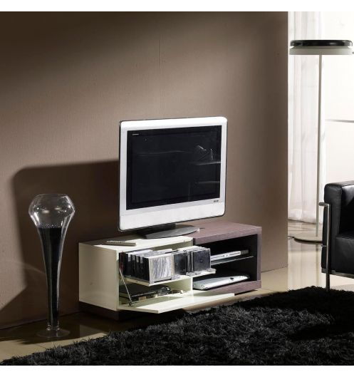 meuble tv weng et laqu blanc. Black Bedroom Furniture Sets. Home Design Ideas