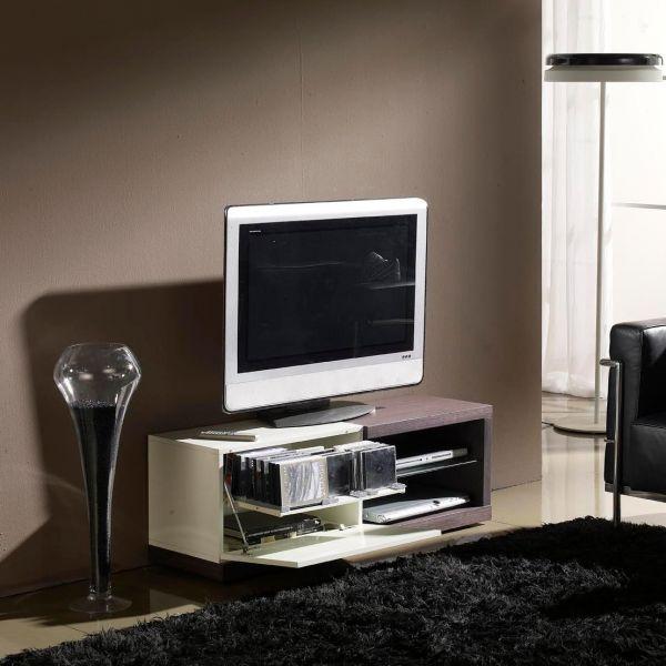 Meuble Tv Wengé Et Laqué Blanc