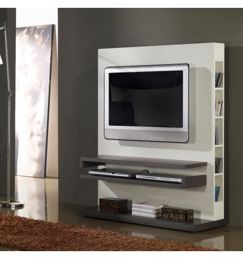 meuble tv design gris et blanc laqu deco et saveurs. Black Bedroom Furniture Sets. Home Design Ideas