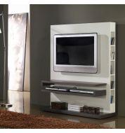 Meuble TV design gris et blanc laqué