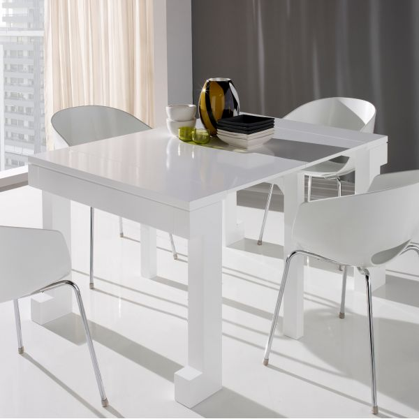 Table laquee blanche extensible for Table ronde extensible blanche