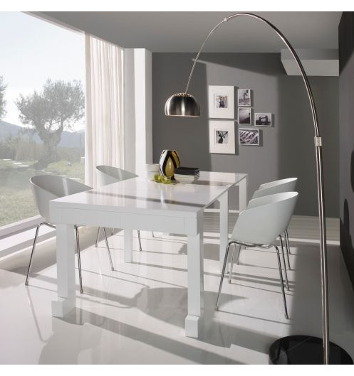 Table console extensible laqu e blanc mobilier for Table de salle a manger laque blanc avec rallonge