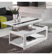Table basse relevable blanc brillant 110 cm