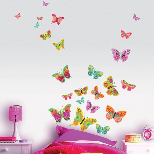 Stickers papillon multicolores stickers chambre original for Stickers muraux chambre ado