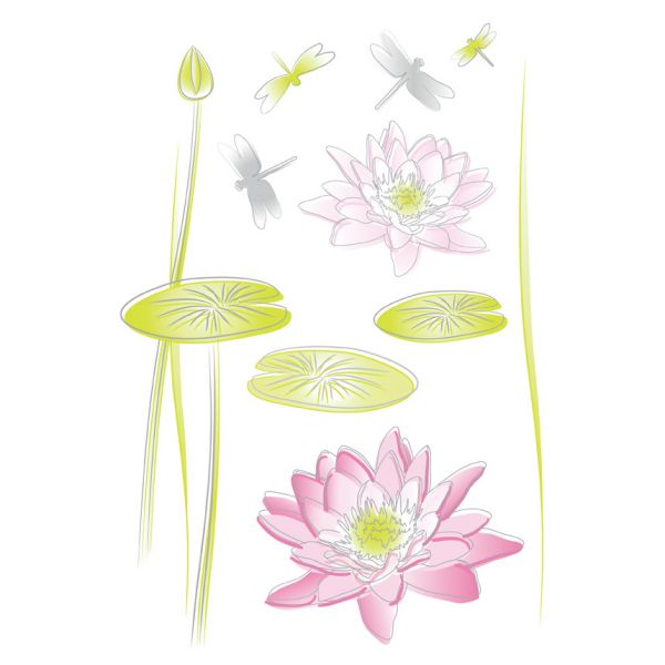 stickers fleurs de lotus stickers muraux. Black Bedroom Furniture Sets. Home Design Ideas