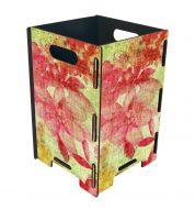 Corbeille à papier bois Werkhaus fleurs jaune et rose