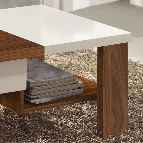 Table basse bois noyer et blanc for Table basse blanc bois