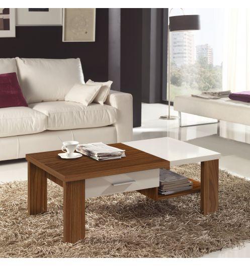 table basse bois noyer et blanc. Black Bedroom Furniture Sets. Home Design Ideas