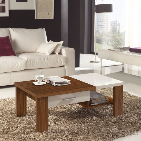 Table basse bois noyer et blanc - Table basse salon bois ...