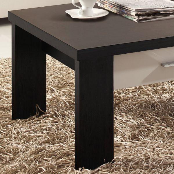 Table basse bois weng et blanc meuble for Table basse blanche et grise