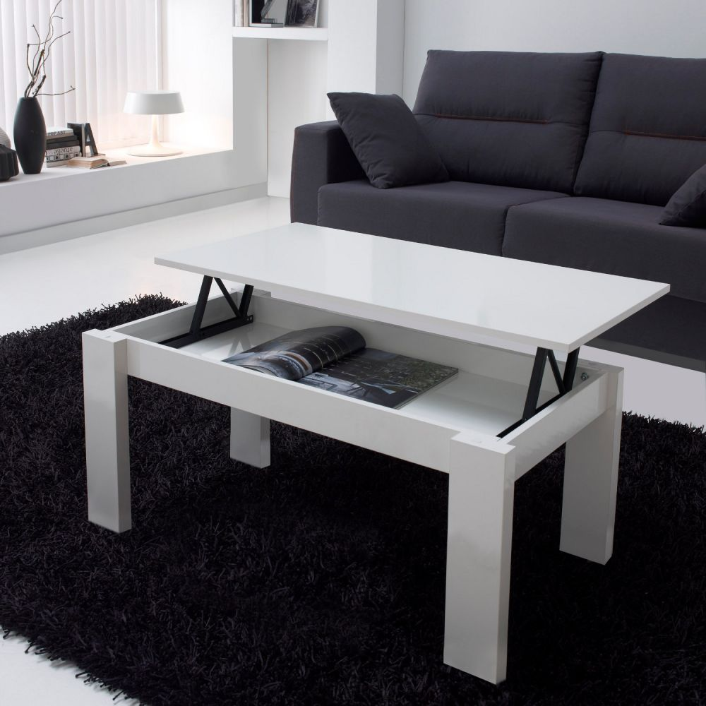 table basse blanche relevable. Black Bedroom Furniture Sets. Home Design Ideas