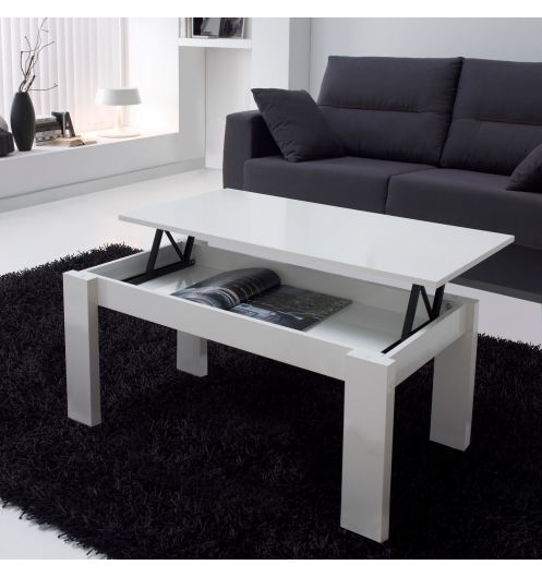 Table basse relevable blanche rectangulaire mobilier - Table de salon rectangulaire ...