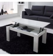 Table basse relevable blanche rectangulaire
