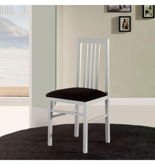 chaise salle manger en bois blanche trois bareaux x4. Black Bedroom Furniture Sets. Home Design Ideas