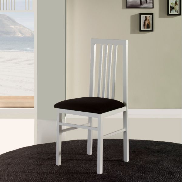 Chaise salle manger en bois blanche trois bareaux x4 for Salle a manger blanche et bois
