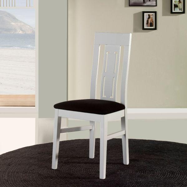 Chaise salle manger en bois blanche quatro x4 meubles - Chaise blanche en bois ...