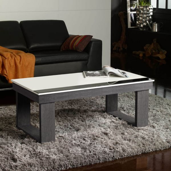 Table basse relevable plateau blanc et pied bois d co et for Table basse scandinave gris et blanc