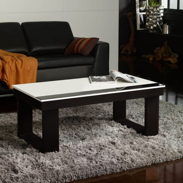 Table basse relevable plateau blanc et weng for Tapis pour table basse