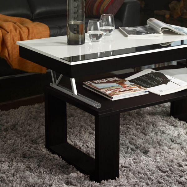 Table basse relevable plateau blanc et weng - Table basse blanche plateau relevable ...