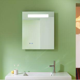 Miroir salle de bain rétro-éclairage Led, horloge et antibué