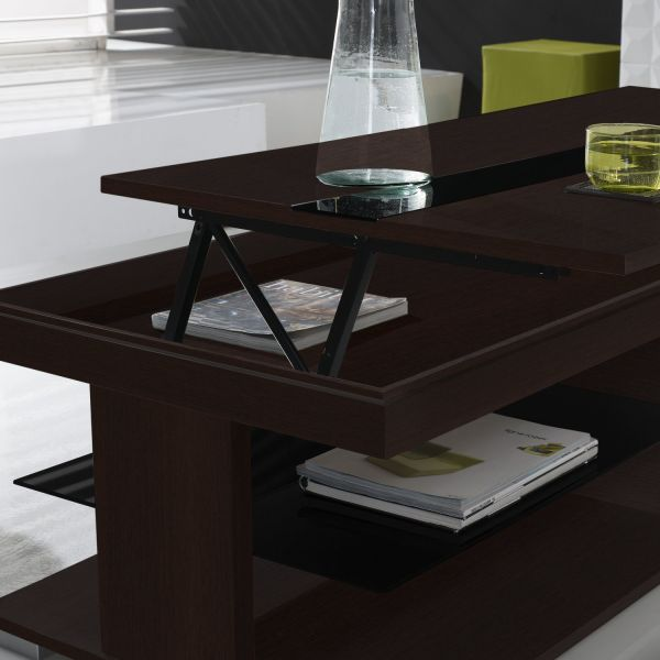 Table basse relevable weng et verre noir meuble for Table basse relevable noir